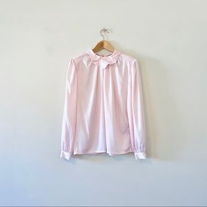 Vintage 80s Pale Pink Satin Long Sleeve Blouse 6